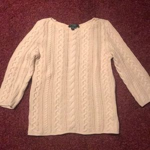 Women's Lauren Ralph Lauren Petite cream sweater
